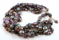 Sterling Silver Freshwater Peacock Pearl, Amethyst And Garnet Bead Five Strand Bracelet.